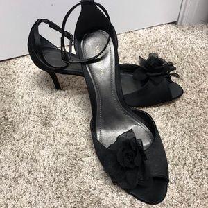 Black Satin Ankle Strap Perp Toe Heels